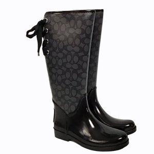 Coach Tristee Signature Rain Boots Lace-Up 7